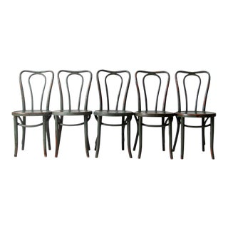 Antique Green Bentwood Chairs Set of 5 For Sale