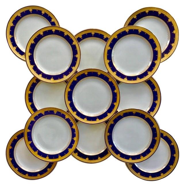 Cobalt Blue Dinner Plates - Set of 12 For Sale