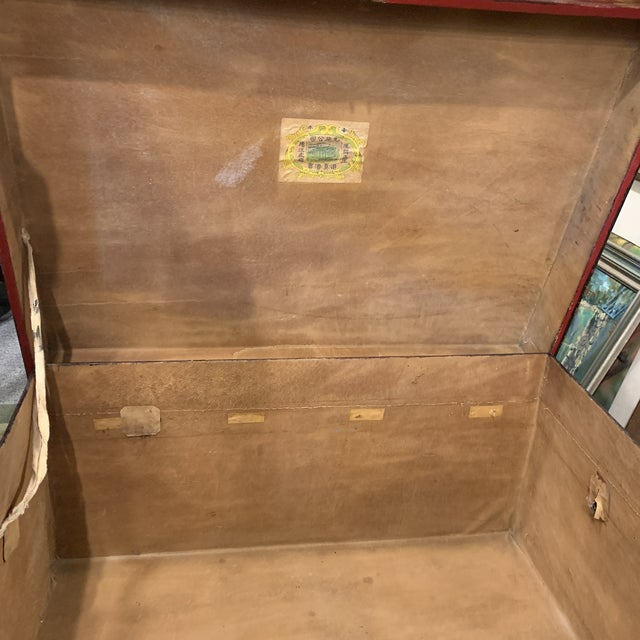 Wine Vintage Chinese Lacquered Wedding Trunk For Sale - Image 8 of 10
