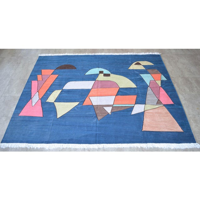 Paul Klee Paul Klee - Sailing Boats - Inspired Silk Hand Woven Area - Wall Rug 4′6″ × 5′9″ For Sale - Image 4 of 11