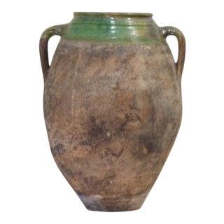 Late 19th Century Antique Rustic Ceramic Olive Jar For Sale