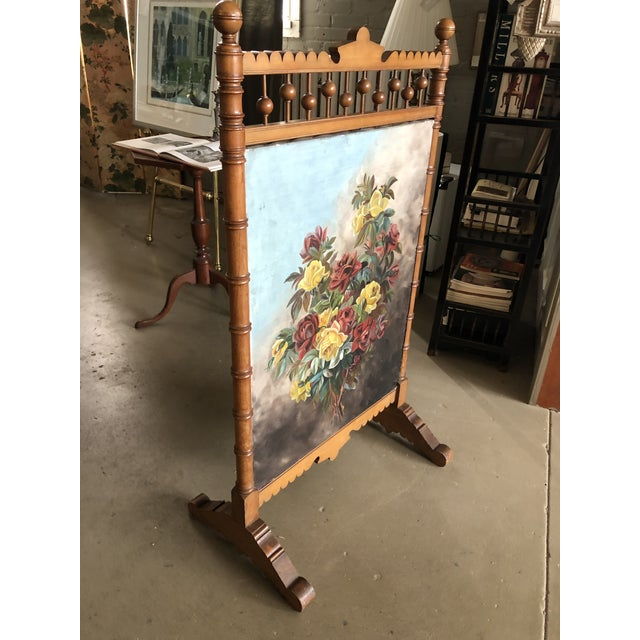 Antique Circa 1880-1890 Wood Summer Fireplace Screen. The screen is a painted floral still life on one side and antique...