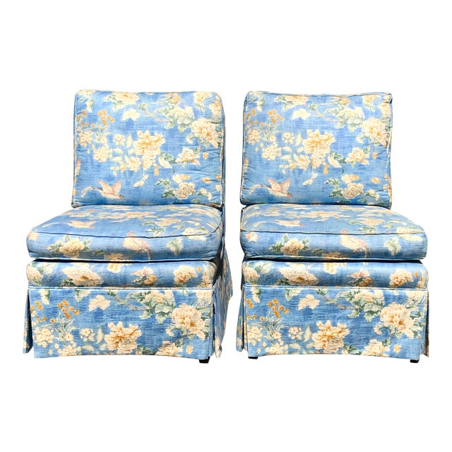 Vintage Pennsylvania House Skirtted Floral Chinosire Slipper Chairs- A Pair For Sale