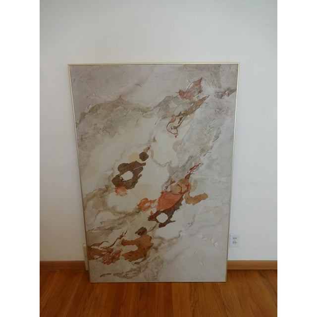 Abstract Vintage Kay Sullivan Abstract Acrylic and Washi Painting For Sale - Image 3 of 9