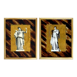 Classical Verre églomisé Reverse Paintings on Glass- a Pair For Sale