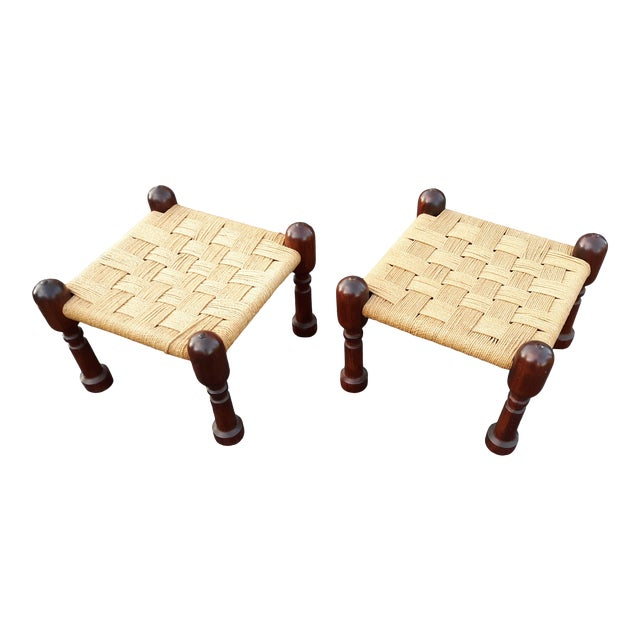 1960s Danish Modern Rosewood and Rope Ottomans - a Pair For Sale