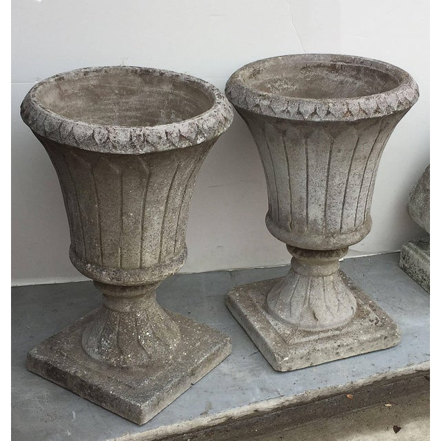 English English Garden Stone Urns - a Pair For Sale - Image 3 of 11