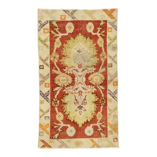 Distressed Vintage Turkish Oushak Rug - 02'06 X 04'04 For Sale