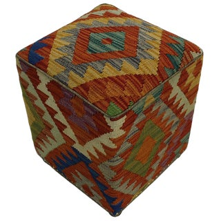Boho Chic Hutchins Rust/Gold Handmade Kilim Upholstered Ottoman For Sale