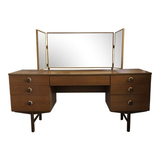 Vintage Avalon Midcentury Modern Vanity With Tri-Mirror For Sale