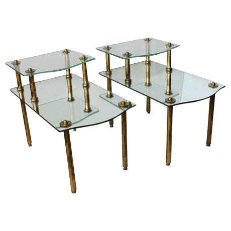 Mid Century Solid Brass Mirrored End Tables - Image 1 of 4