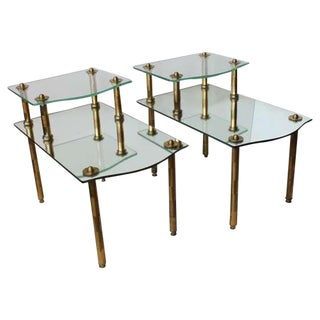 Mid Century Solid Brass Mirrored End Tables- A Pair For Sale