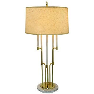 Mid-Century Modern Tommi Parzinger Style Candelbra Brass and Marble Table Lamp For Sale