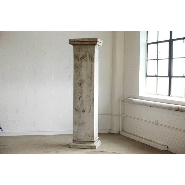 Industrial Distressed Tall Wooden Architectural Column with Patina For Sale - Image 3 of 9