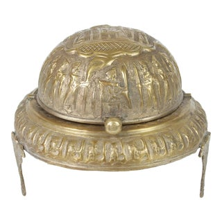 Footed Brass Silvered Persian Caviar Server
