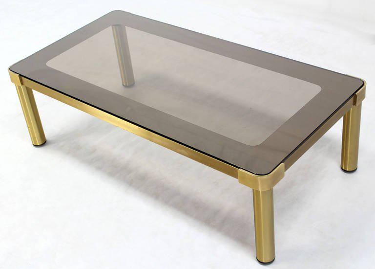 Mid Century Modern Brass And Two Tone Glass Coffee Table By Mastercraft    Image