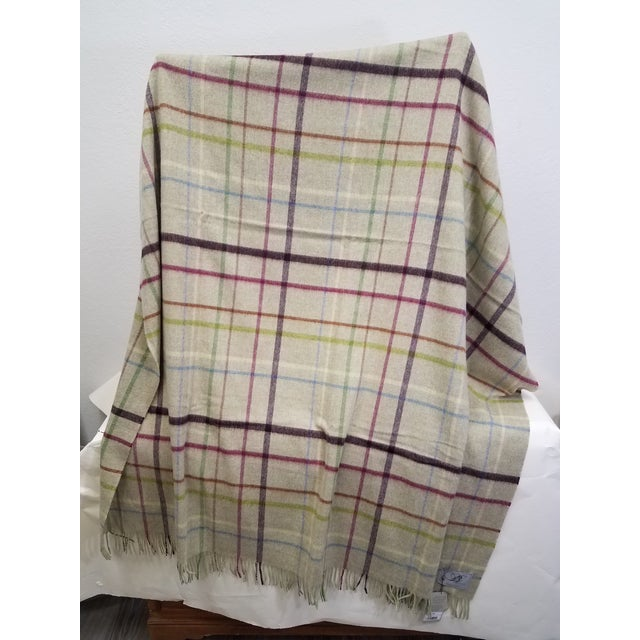 English Wool Throw Multi Color Stripes on Beige Background - Made in England For Sale - Image 3 of 12