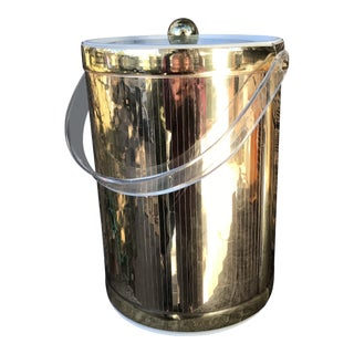 Mid-Century Modern Georges Briard Hollywood Regency Mirrored Gold & Lucite Ice Bucket For Sale