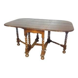 Antique English Oak Drop Leaf Barley Twist Table For Sale