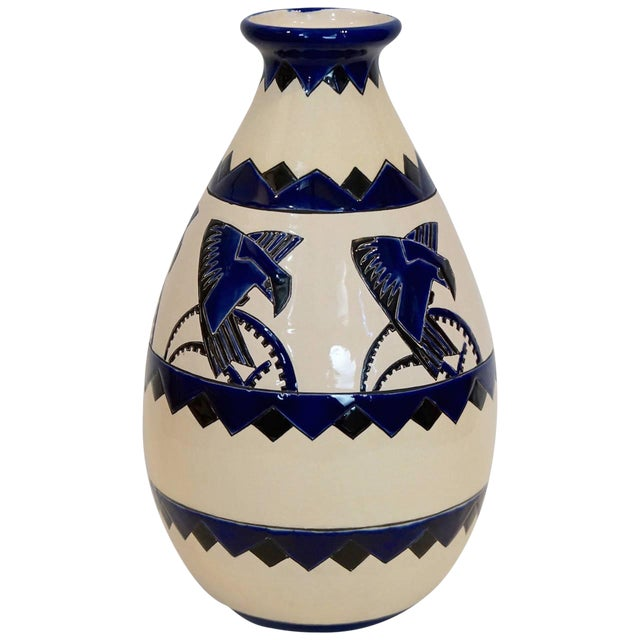 Rare Cobalt and Cream Charles Catteau Vase For Sale