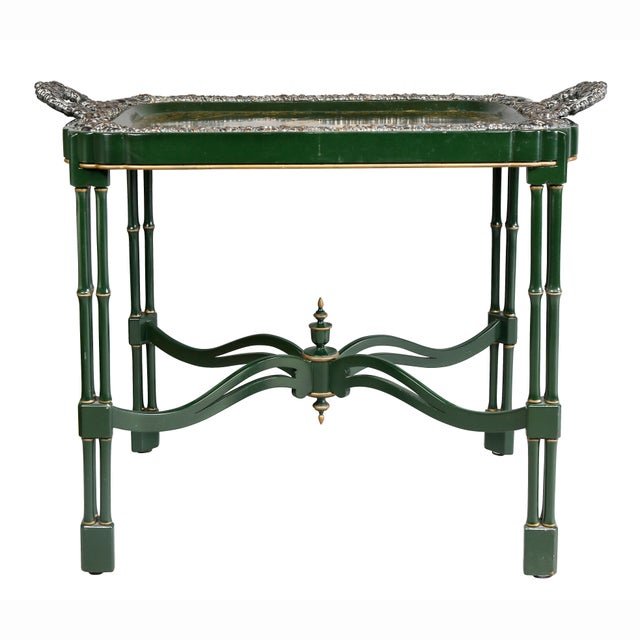 Victorian Papier Mache and Silver Plated Tray Table For Sale - Image 12 of 13