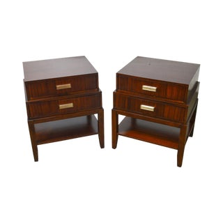 Lexington Modern Mahogany Art Deco Style Nightstands - A Pair