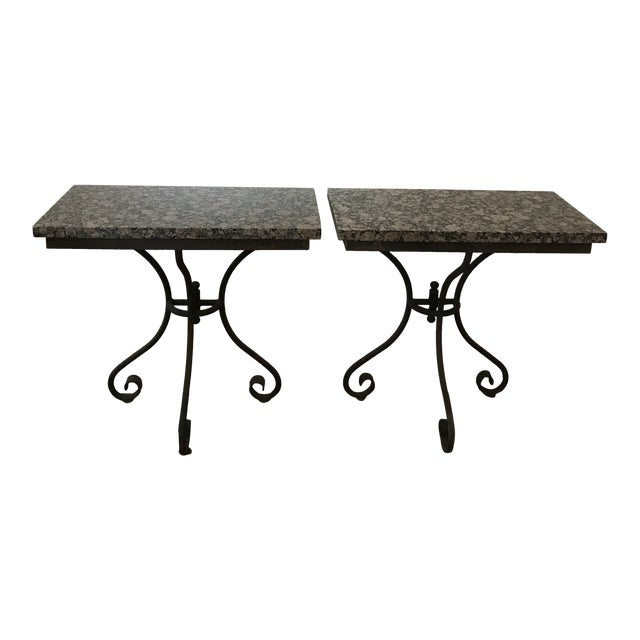 Vintage Granite Top Console Tables - a Pair For Sale