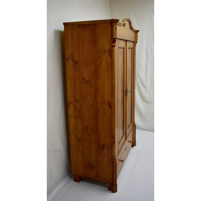 Traditional Pitch Pine Bonnet Top Two Door Armoire For Sale - Image 3 of 13