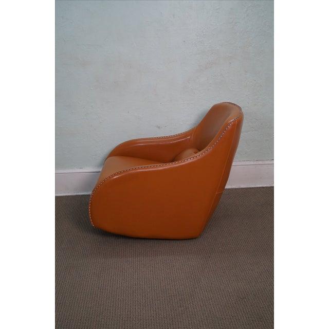 Unusual Italian Leather Rocking Lounge Chair - Image 3 of 10