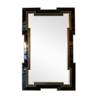 Paul Marra Design Greek Key Mirror with Black Mirror Border For Sale