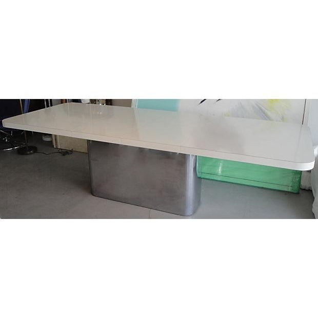 Chrome Base & White Mica Dining Table For Sale - Image 5 of 6