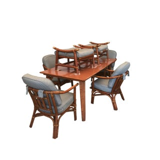 "Ficks Reed Rattan Dining Set ""Far Horizons"" by John Wisner For Sale"