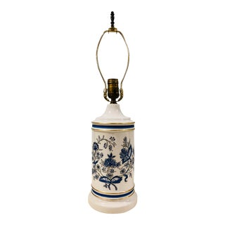 English Blue and Gilt Porcelain Tea Lamp For Sale