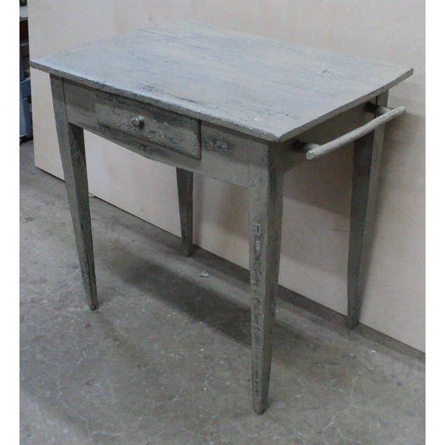 19th Century French Country Work Table in Old Paint For Sale - Image 10 of 10