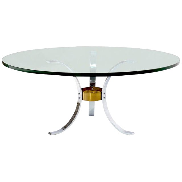 "Heavy Thick 3/4"" Glass Round Top Chrome & Brass Tripod Base Coffee Table For Sale"