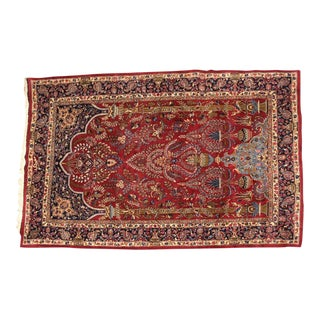 Vintage Persian Mid Century Modern Large Meshed Wool Hand Knotted Rug - 6′7″ × 9′6″ For Sale