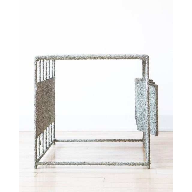 Hand Made Side Table of Crushed Pyrite of Mexico, by Samuel Amoia For Sale - Image 4 of 7