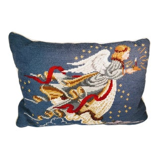 Late 20th Century Needlepoint Christmas Angel Pillow For Sale