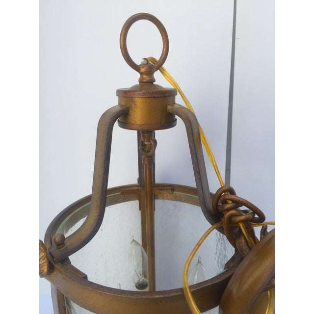 Vintage Seeded Glass 3 Light Carriage Lantern For Sale - Image 11 of 12