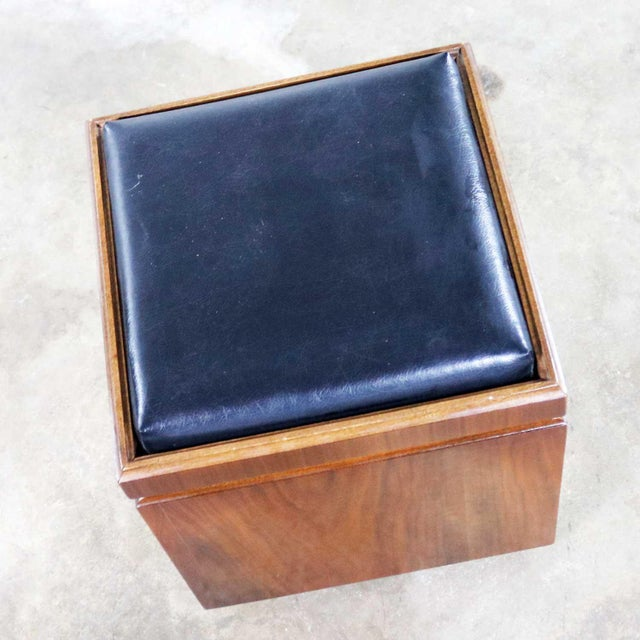 Wood Mid Century Modern Lane Rolling Cube Storage Ottoman With Game Board Flip Table Top For Sale - Image 7 of 13
