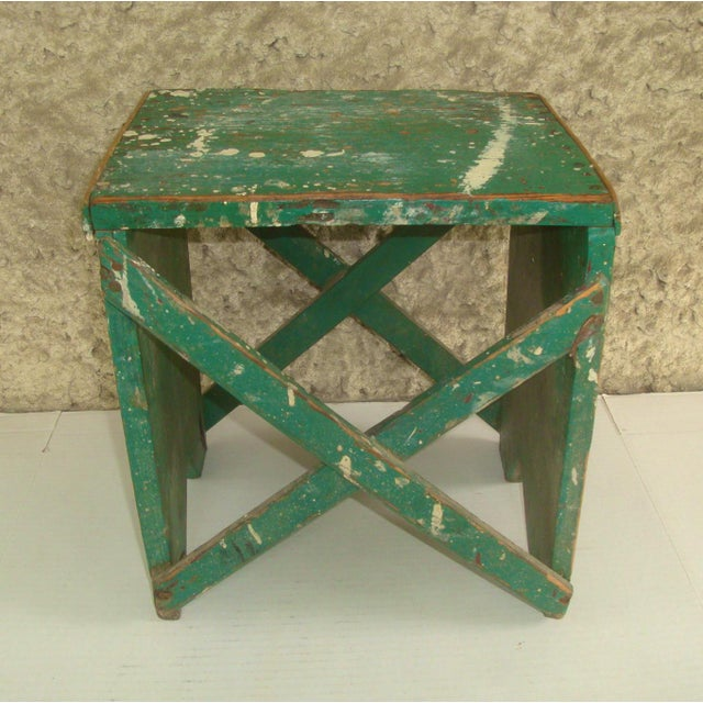 Rustic Primitive Handmade Green Wood Stool For Sale In Richmond - Image 6 of 6