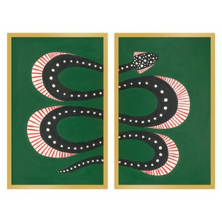 "Medium ""Zuccini the Snake, Set of 2"" Print by Willa Heart, 26"" X 20"" For Sale"