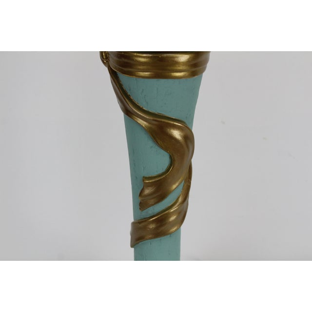 Mid-Century Plaster Ribbon Table Lamps After Dorothy Drapper For Sale - Image 9 of 12