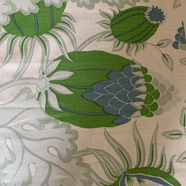 Christopher Farr Carnival Linen Fabric in Green and Blue -2 1/2 Yards For Sale - Image 4 of 10