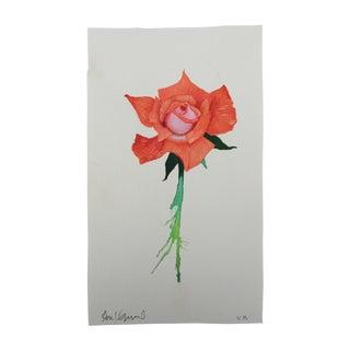 """""""Orange Crush Rose"""" Original Watercolor Painting For Sale"""