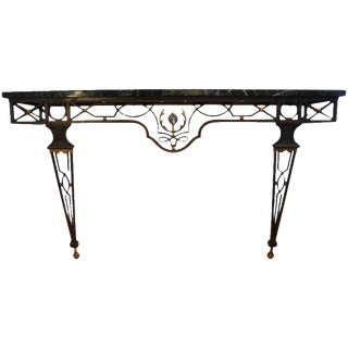 French Neoclassical Gilbert Poillerat Style Wrought Iron Console Table For Sale