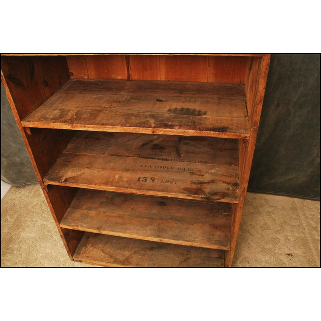 Vintage Industrial Wood Bookcase made from Underwood Typewriter Crates For Sale - Image 6 of 11