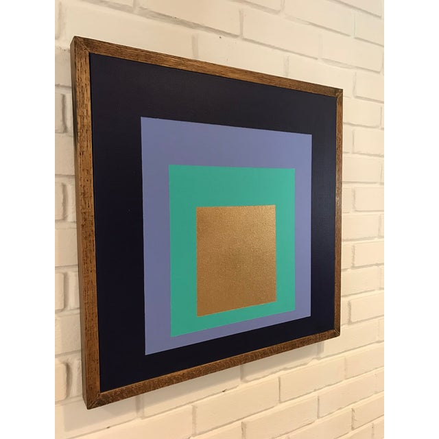 Abstract Original Framed Modern Painting by Tony Curry Homage to the Square For Sale - Image 3 of 5