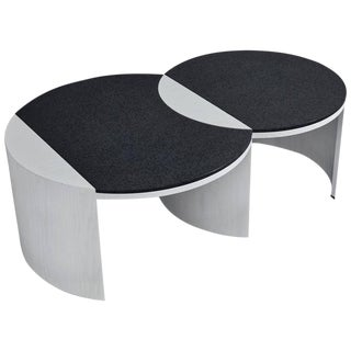 Gibbous Black and White Coffee Table by Robert Sukrachand, Made in Usa For Sale