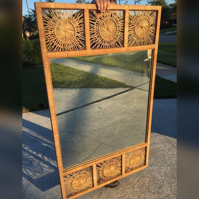 Rattan Boho Tropical Palm Beach Bamboo Oversized Wall Mirror For Sale - Image 9 of 11